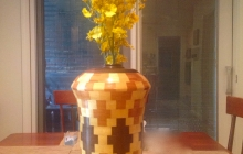 Segmented vase with flowers