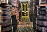 Light between barrels in the warehouse