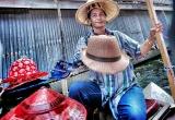 23 Hat merchant, floating market, Thailand_DSC2910